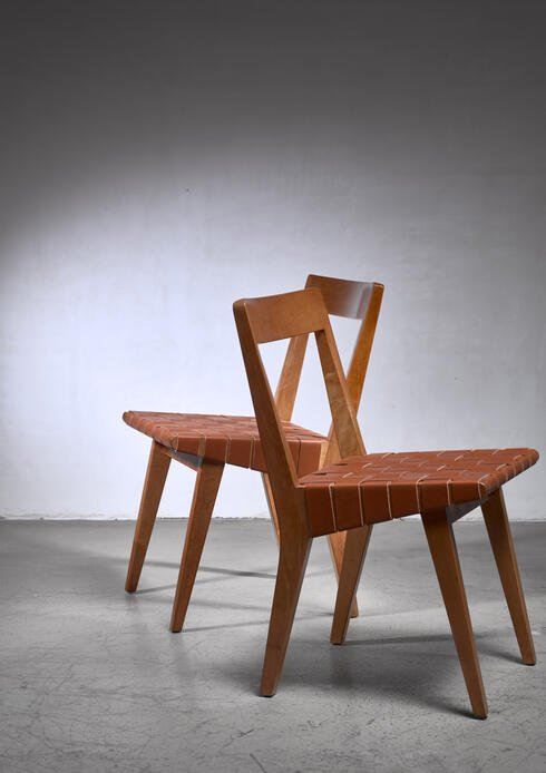 Bloomberry - Jens Risom pair of webbed chairs for Knoll