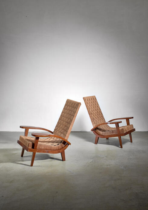Bloomberry - Pair of high back seagrass armchairs, Italy, late 1920s