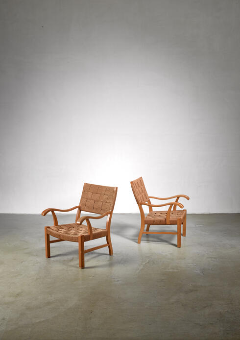 Bloomberry - Fritz Hansen beech and seagrass chairs, Denmark, 1930s