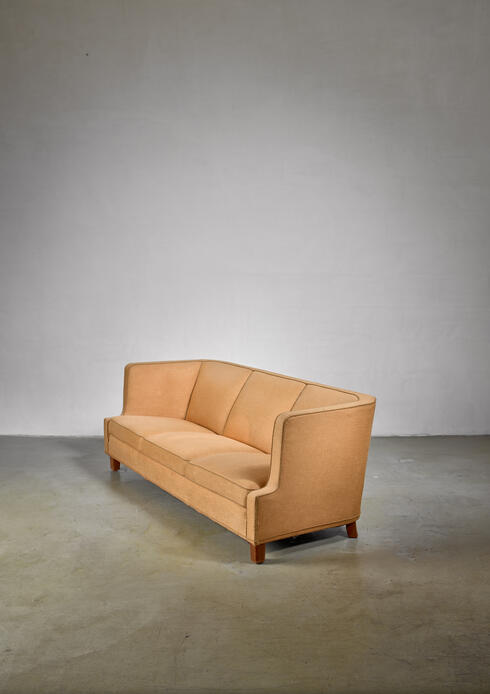 Bloomberry - Yellow Danish three-seater sofa, 1940s