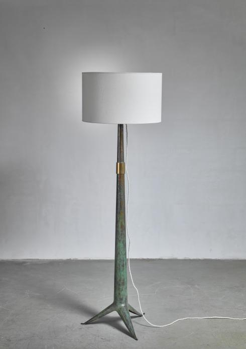 Bloomberry - Emiel Veranneman brass floor lamp, Belgium, 1940s/50s