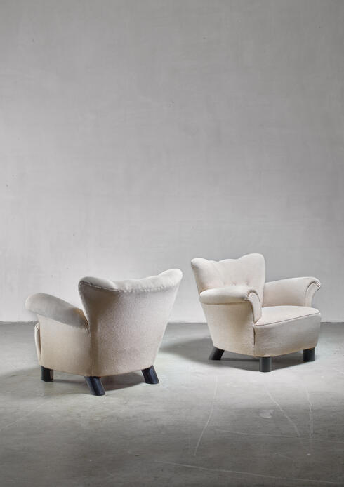 Bloomberry - Pair of Danish easy chairs, 1940s