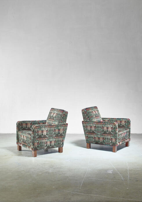 Bloomberry - Björn Trägårdh pair of club chairs with original Art Nouveau upholstery, 1930s