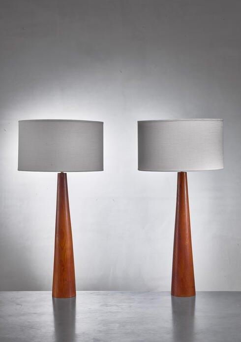 Bloomberry - Pair of conical wooden table lamps, Sweden, 1960s