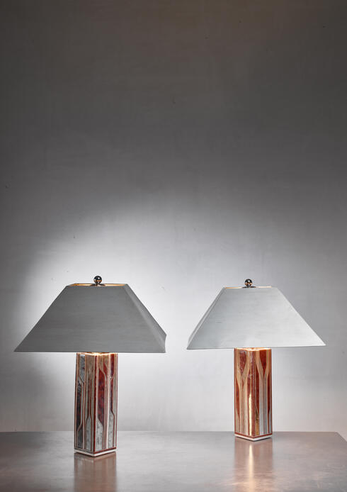 Bloomberry - Per Rehfeldt pair of stoneware table lamps, Denmark