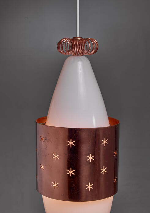 Bloomberry -  Paavo Tynell K2-12 Opaline Glass and Copper Pendant for Idman