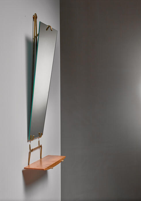 Bloomberry - Carl Aubock wall mirror with shelf, Austria, circa 1950