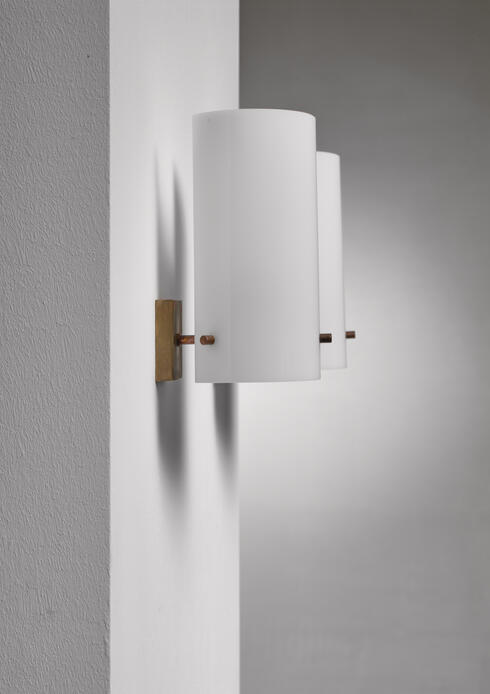 Bloomberry -  Pair Italian brass and plexiglass wall sconces, 1960s