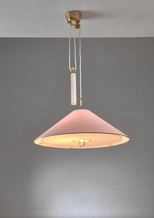 Bloomberry - Paavo Tynell Pendant With Counterweight And Fabric Shade And Diffuser, Finland