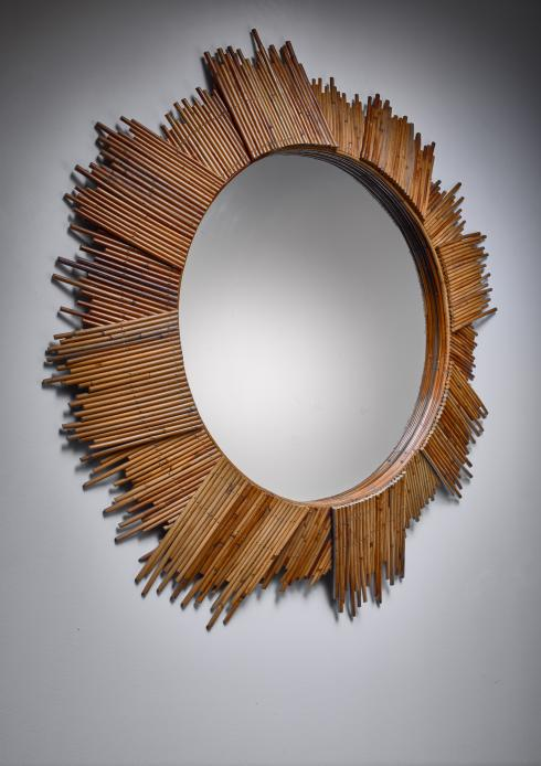 Bloomberry - Large Bamboo sunburst wall mirror (115 cm/45 inch diameter)