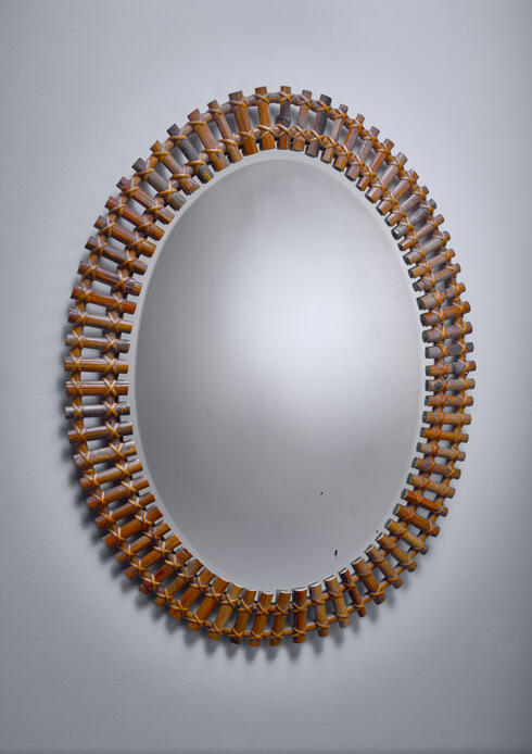 Bloomberry - Wall mirror in oval bamboo frame