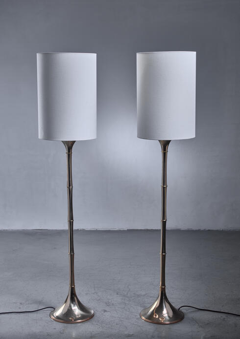 Bloomberry - Ingo Maurer Pair of Brass 'Bamboo' Floor Lamps