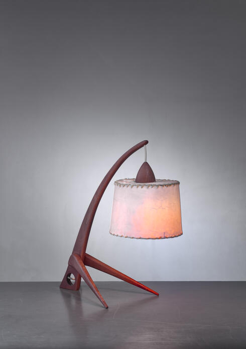 Bloomberry - Teak table lamp with paper shade