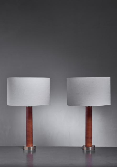 Bloomberry - Pair of brass and leather table lamps
