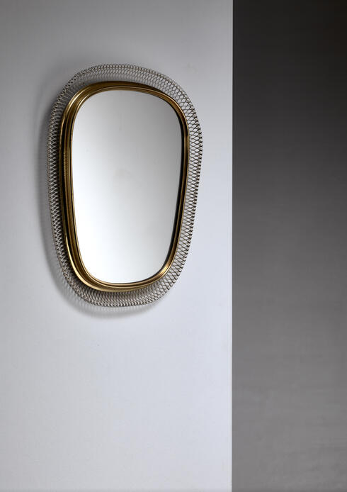 Bloomberry - Brass Mirror with white mesh metal, Austria, 1950s