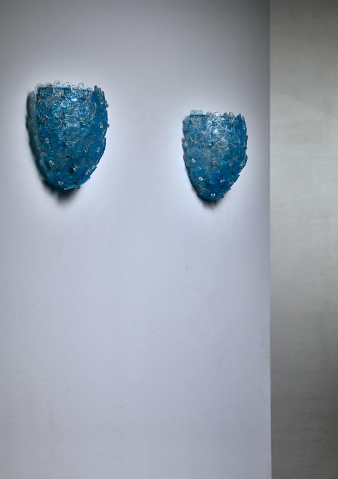 Bloomberry - Pair of Barovier & Toso blue glass flower wall lamps for Murano, 1950s