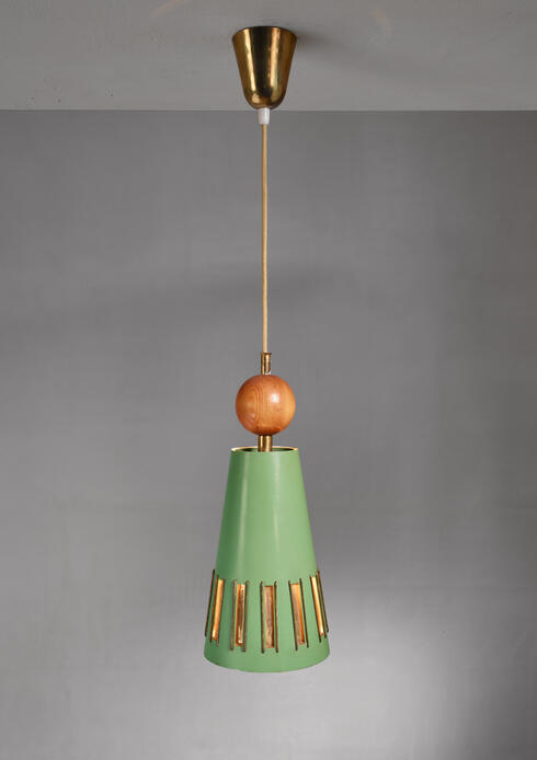 Bloomberry - Rare Green Paavo Tynell chandelier for Idman, 1940s