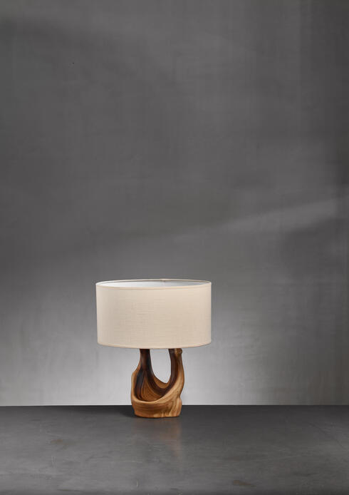 Bloomberry - Faux Bois Cermaic Table Lamp by Grandjean Jourdan, France, 1950s