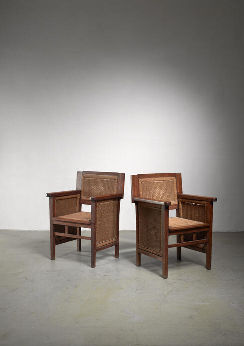 Bloomberry - Prag-Rudniker Secession pair of oak and rope armchairs