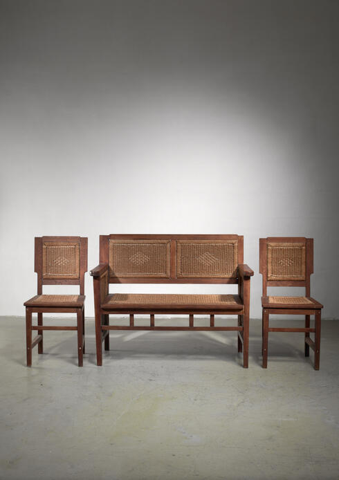 Bloomberry - Prag-Rudniker Secession / Jugendstil set of bench and side chairs