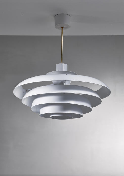 Bloomberry - One of two white metal pendant lamps, Sweden