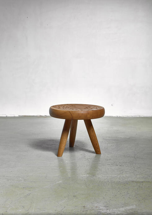 Bloomberry - Charlotte Perriand low ash tripod stool from Les Arcs, France, 1960s