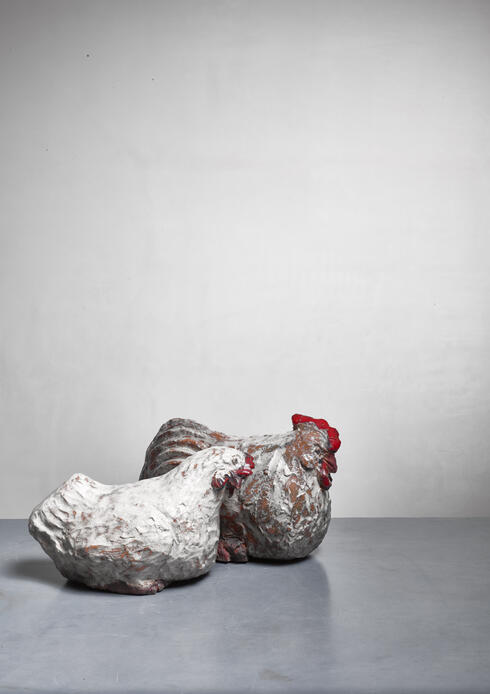 Bloomberry - Pair of ceramic hen and rooster sculptures