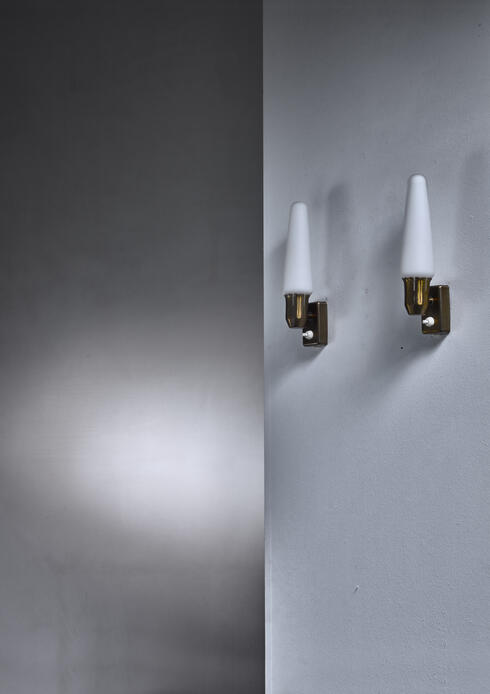 Bloomberry - Pair of brass and opaline glass wall lamps