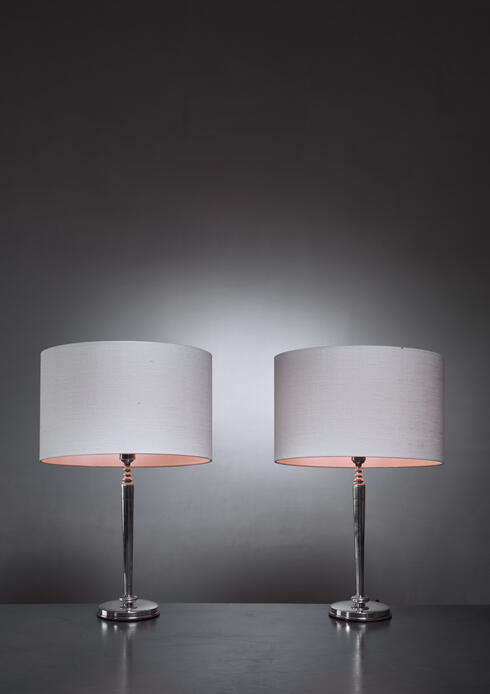 Bloomberry - C.G. Hallberg pair of silver table lamps, Sweden