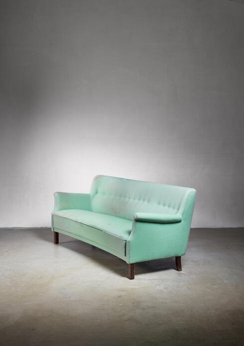 Bloomberry - Frits Henningsen 3 seater sofa in mint green, Denmark, 1960s