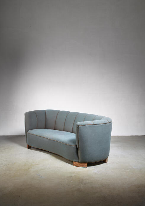 Bloomberry - Large 1940s Danish sofa with petrol upholstery