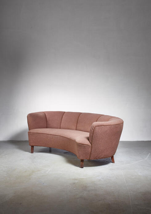 Bloomberry - Large Danish curved brown sofa, Denmark, 1940s