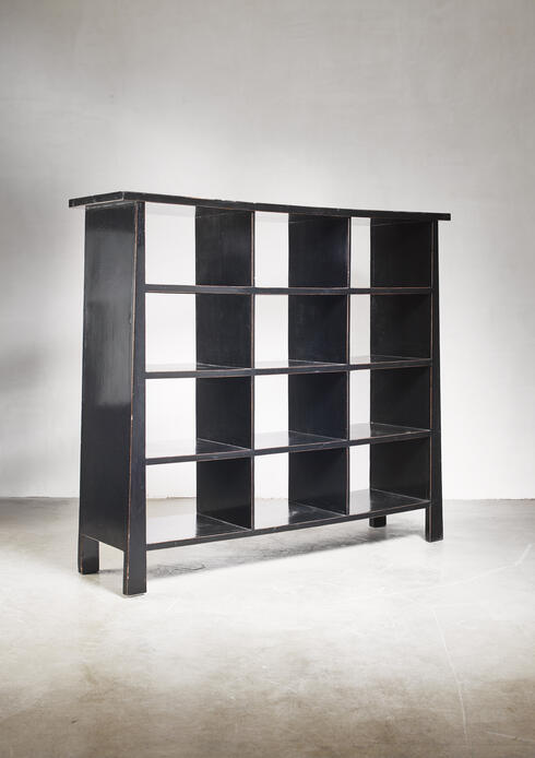 Bloomberry - Black lacquered wood bookcase, Dutch, 1930s