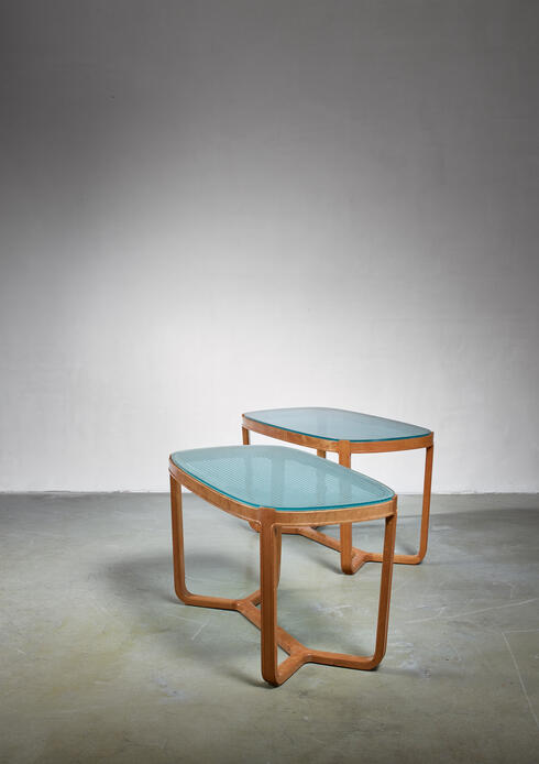 Bloomberry - Bertil Fridhagen pair of coffee tables for SMF, Sweden, 1940s