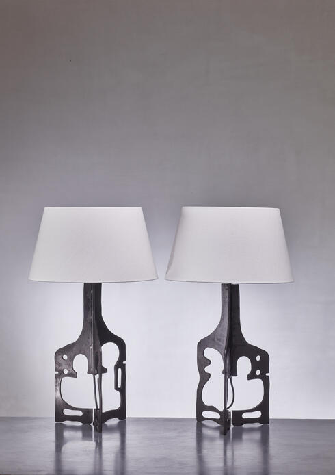 Bloomberry - Pair of iron table lamps, 1950s