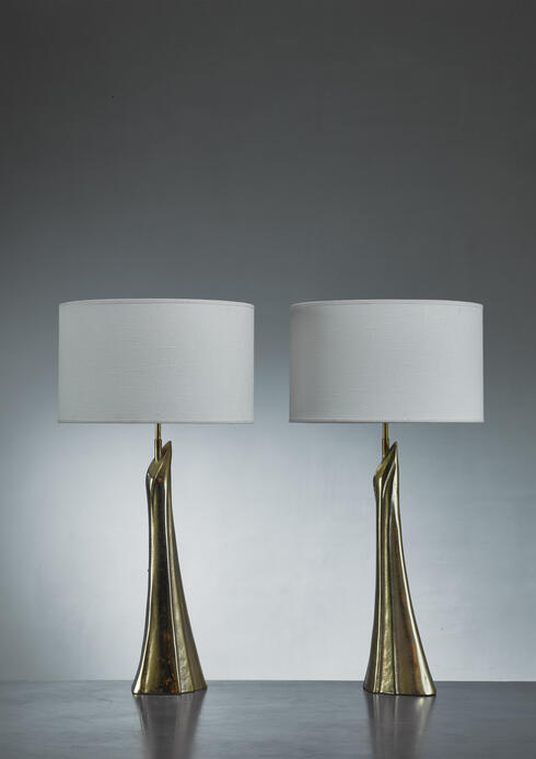 Bloomberry - Pair of sculptural solid bronze table lamps, 1960s