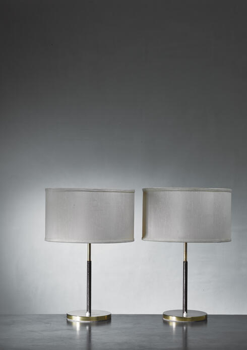 Bloomberry -  Pair of Kalmar Table Lamps With Leather Covered Stem, Austria