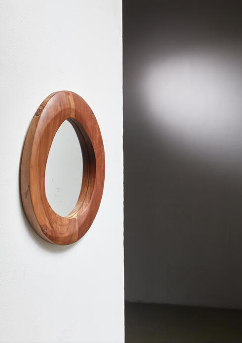Bloomberry - Free-Form Wooden Mirror, France, 1950s
