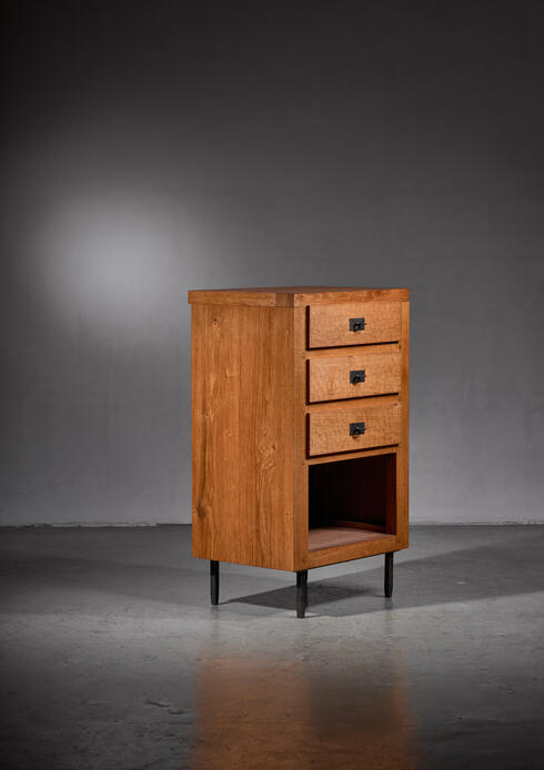 Bloomberry - Jean Touret oak cupboard for Marolles, France, 1970s