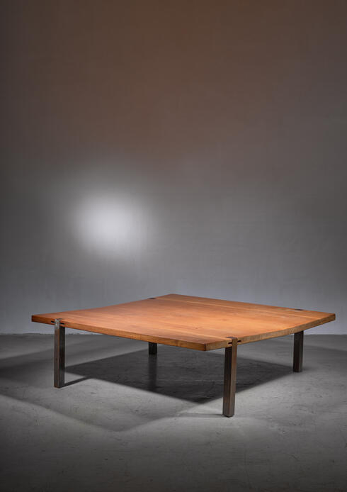 Bloomberry - Large Square (1,5 m / 58 inch) solid wood and metal coffee table, Denmark, 1960s