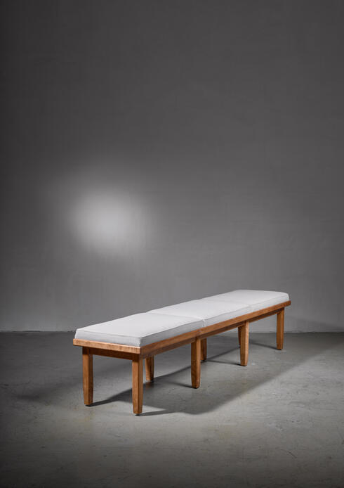 Bloomberry - Long (220cm/7ft) tiger maple Nordiska Kompaniet bench