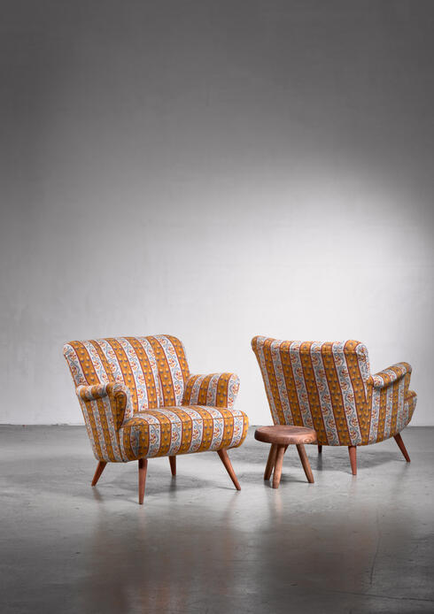 Bloomberry - Pair of Scandinavian Modern armchairs