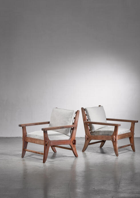Bloomberry - Pair of Mexican Modernist pine armchairs