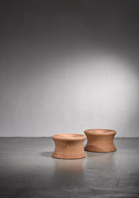 Bloomberry - Pair of rattan Eero Aarnio 'Jutto' stools