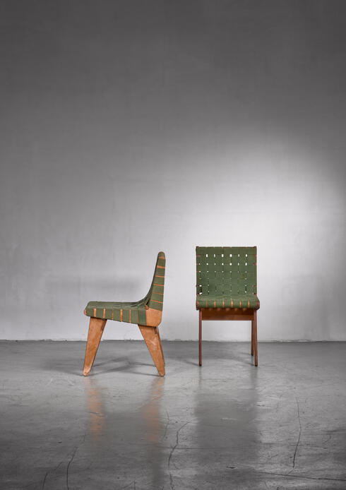Bloomberry - Klaus Grabe pair of webbed side chairs
