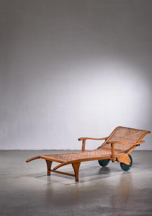 Bloomberry - Beech and Woven Cane Garden Chaise on Wheels