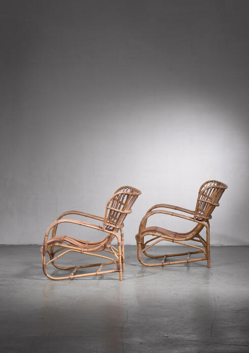 Bloomberry - Viggo Boesen pair of rattan lounge chairs