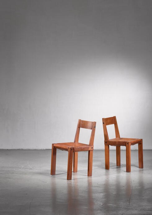 Bloomberry - Pierre Chapo Elm and Leather Dining Chairs