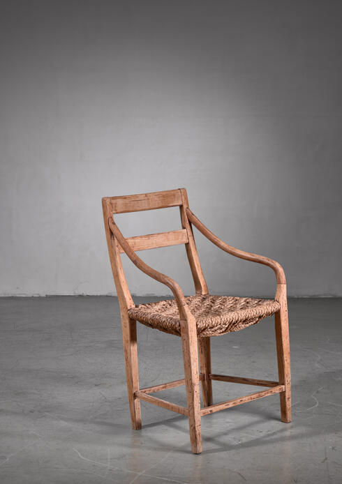 Bloomberry - Beech and Woven Rope Armchair, Denmark, 19th Century