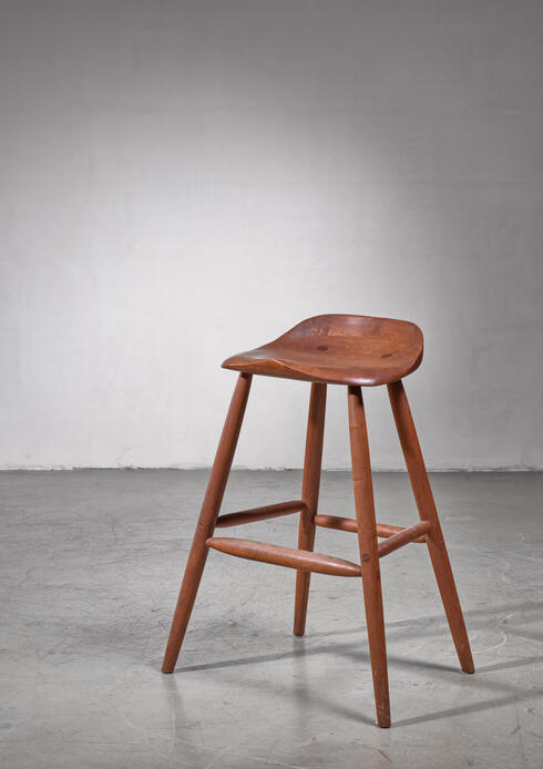 Bloomberry - Hugh Davies Walnut Studio Crafted Bar Stool, 1970s